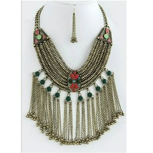 Goldtone Boho Gypsy Chunky Fringe Bib Necklace Set